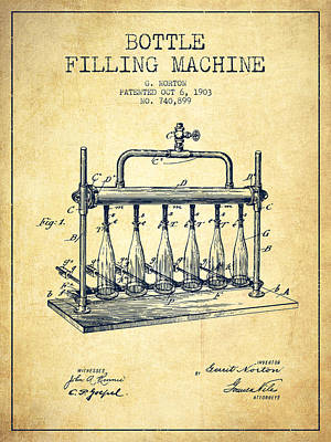 Food And Beverage Royalty-Free and Rights-Managed Images - 1903 Bottle Filling Machine patent - vintage by Aged Pixel