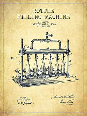 Food And Beverage Digital Art - 1903 Bottle Filling Machine patent - vintage by Aged Pixel