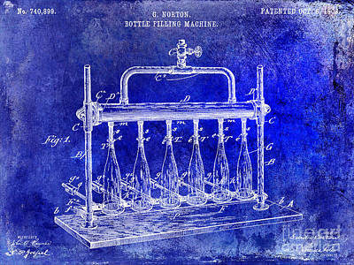 1903 Bottle Filling Patent Blue Art Print by Jon Neidert