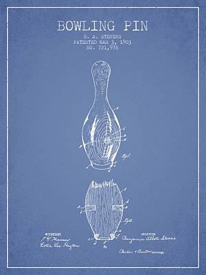 1903 Bowling Pin Patent - Light Blue Art Print