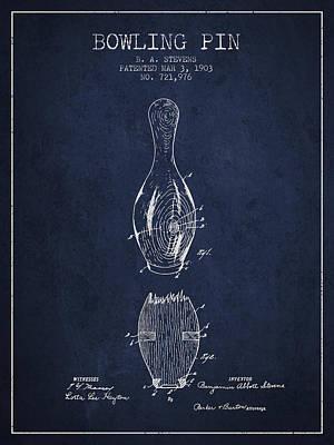 1903 Bowling Pin Patent - Navy Blue Art Print