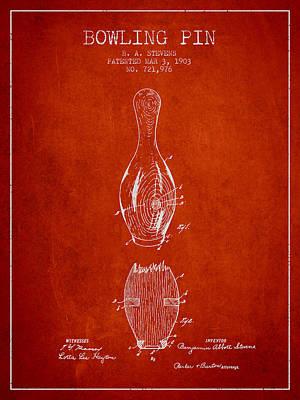 1903 Bowling Pin Patent - Red Art Print