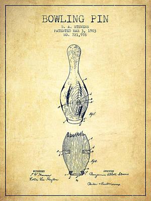 Bowling Digital Art - 1903 Bowling Pin Patent - Vintage by Aged Pixel