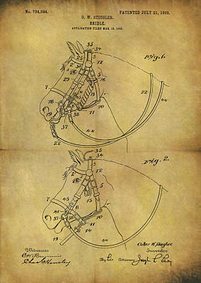 Horseback Mixed Media - 1903 Bridle Patent by Dan Sproul