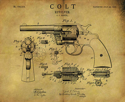 Drawing - 1903 Colt Revolver Patent by Dan Sproul