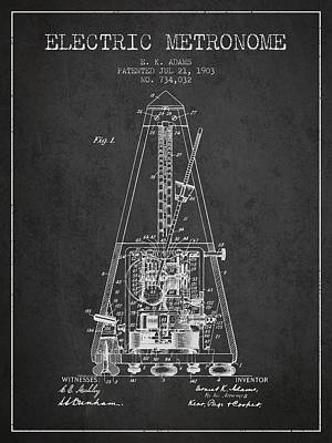Old Instruments Digital Art - 1903 Electric Metronome Patent - Charcoal by Aged Pixel