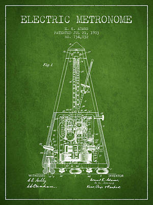 Old Instruments Digital Art - 1903 Electric Metronome Patent - Green by Aged Pixel