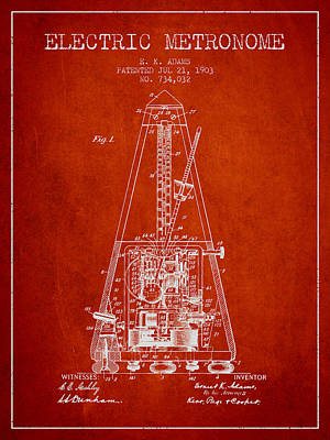 Old Instruments Digital Art - 1903 Electric Metronome Patent - Red by Aged Pixel