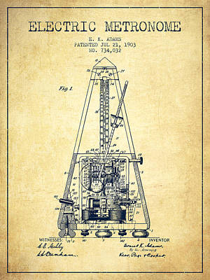 Old Instruments Digital Art - 1903 Electric Metronome Patent - Vintage by Aged Pixel