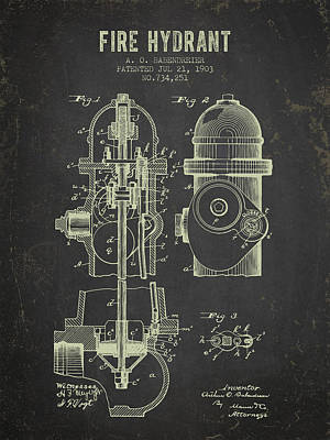 Fire Hydrants Digital Art - 1903 Fire Hydrant Patent - Dark Grunge by Aged Pixel