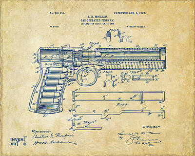 Digital Art - 1903 Mcclean Pistol Patent Artwork - Vintage by Nikki Marie Smith