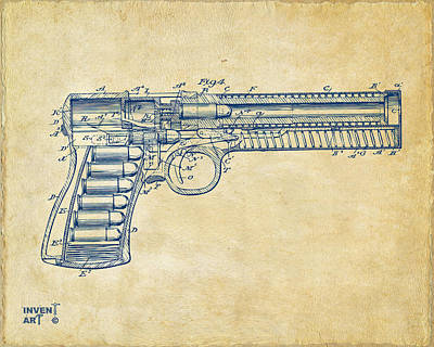 X-ray Digital Art - 1903 Mcclean Pistol Patent Minimal - Vintage by Nikki Marie Smith