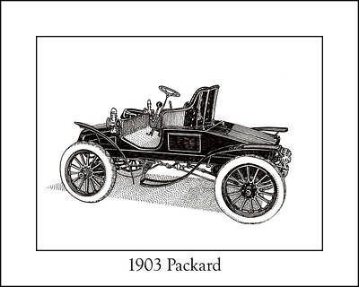 Old Car Drawing - 1903 Packard by Jack Pumphrey