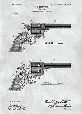 Drawing - 1903 Revolver Blueprint Illustration by Dan Sproul