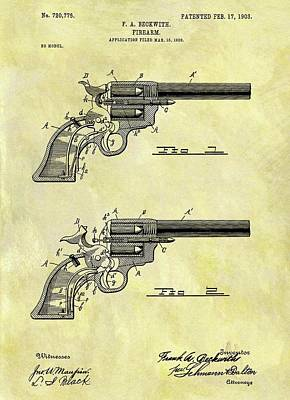 Drawing - 1903 Revolver Patent by Dan Sproul