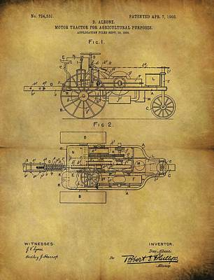Tractor Drawing - 1903 Tractor Patent by Dan Sproul