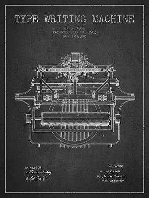 Typewriter Digital Art - 1903 Type Writing Machine Patent - Charcoal by Aged Pixel