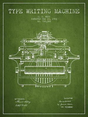 Typewriter Digital Art - 1903 Type Writing Machine Patent - Green by Aged Pixel