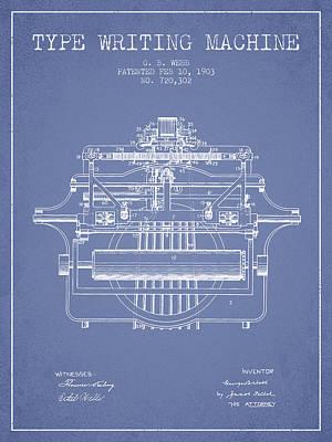 Typewriter Digital Art - 1903 Type Writing Machine Patent - Light Blue by Aged Pixel