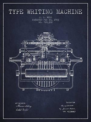 Typewriter Digital Art - 1903 Type Writing Machine Patent - Navy Blue by Aged Pixel