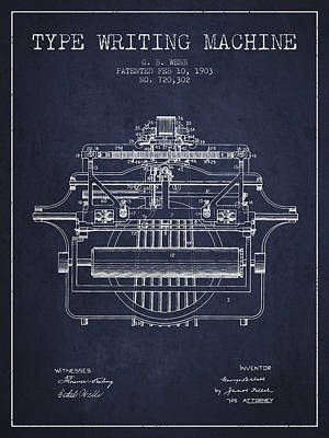 Keyboards Digital Art - 1903 Type Writing Machine Patent - Navy Blue by Aged Pixel