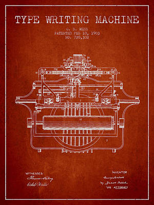 Keyboards Digital Art - 1903 Type Writing Machine Patent - Red by Aged Pixel