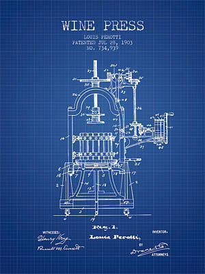 1903 Wine Press Patent - Blueprint 02 Art Print