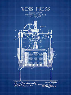 1903 Wine Press Patent - Blueprint Art Print by Aged Pixel