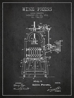 1903 Wine Press Patent - Charcoal 02 Art Print by Aged Pixel