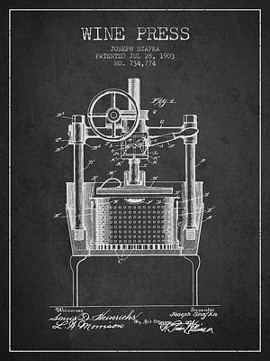 1903 Wine Press Patent - Charcoal Art Print by Aged Pixel