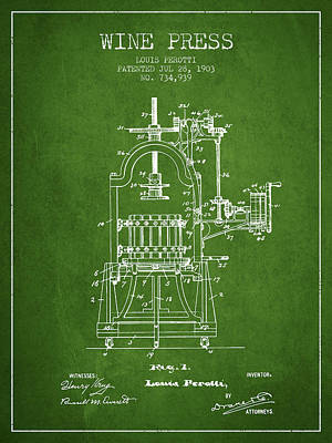 1903 Wine Press Patent - Green 02 Art Print by Aged Pixel