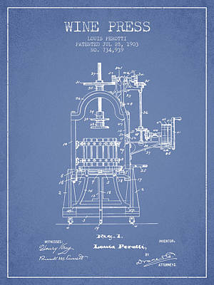 1903 Wine Press Patent - Light Blue 02 Art Print by Aged Pixel