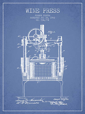 1903 Wine Press Patent - Light Blue Art Print by Aged Pixel