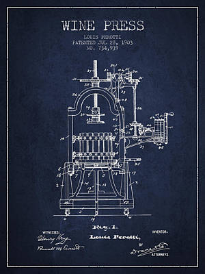 1903 Wine Press Patent - Navy Blue 02 Art Print by Aged Pixel