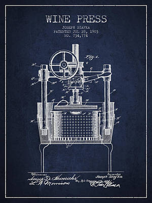 1903 Wine Press Patent - Navy Blue Art Print by Aged Pixel