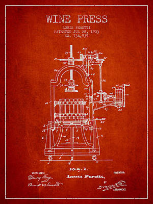 1903 Wine Press Patent - Red 02 Art Print by Aged Pixel