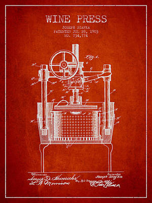 1903 Wine Press Patent - Red Art Print by Aged Pixel