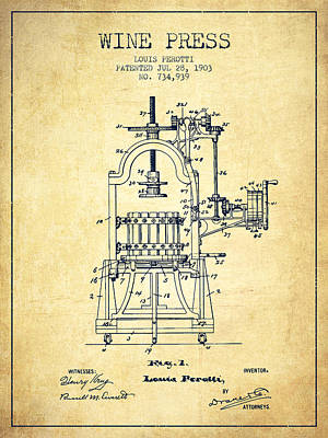 1903 Wine Press Patent - Vintage 02 Art Print by Aged Pixel