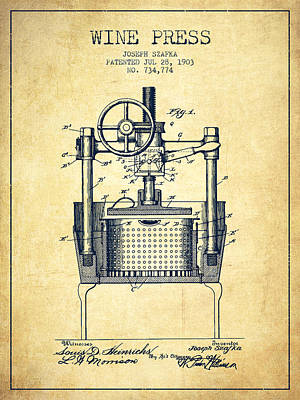 Sparkling Wines Digital Art - 1903 Wine Press Patent - Vintage by Aged Pixel
