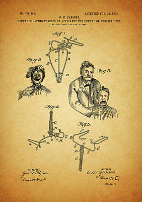 Mixed Media - 1904 Dental Forceps Patent by Dan Sproul