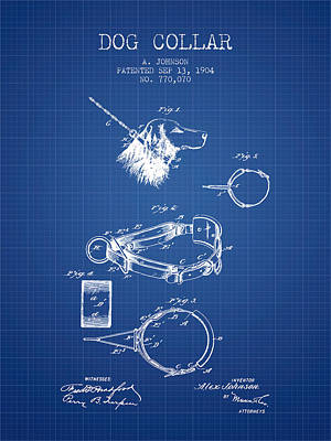 Puppies Drawing - 1904 Dog Collar Patent - Blueprint by Aged Pixel