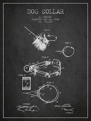 Puppies Drawing - 1904 Dog Collar Patent - Charcoal by Aged Pixel
