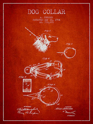 Puppies Drawing - 1904 Dog Collar Patent - Red by Aged Pixel