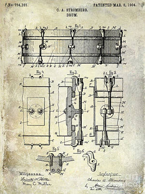 1904 Drum Patent Art Print by Jon Neidert