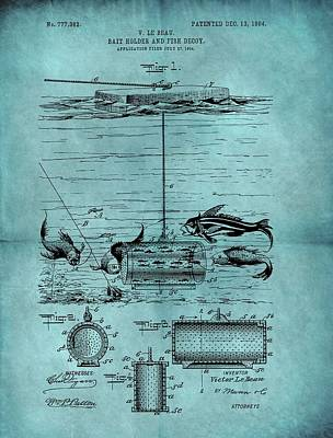 Pole Drawing - 1904 Fishing Bait Patent by Dan Sproul