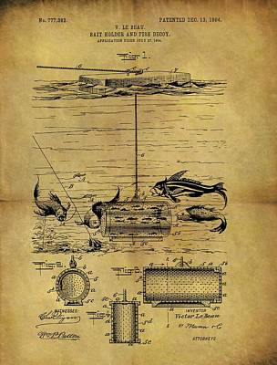 Pole Drawing - 1904 Fishing Decoy Patent by Dan Sproul