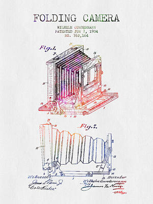 Camera Digital Art - 1904 Folding Camera Patent - Color by Aged Pixel