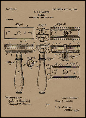 Painting - 1904 Gillette Razor Patent Drawing by King G Gillette