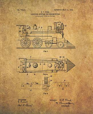 Passengers Mixed Media - 1904 Locomotive Patent by Dan Sproul