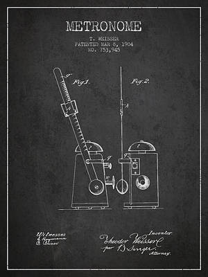 Old Instruments Digital Art - 1904 Metronome Patent - Charcoal by Aged Pixel